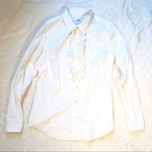 Vineyard Vines classic white ruffle front blouse/4